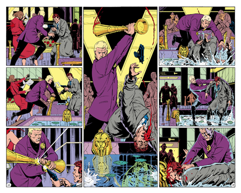 "The middle two pages of Watchmen #5, titled ""Fearful Symmetry"". The whole of the issue's layout was intended to be symmetrical, culminating in this center spread, where the pages reflect one another. Art by Dave Gibbons."