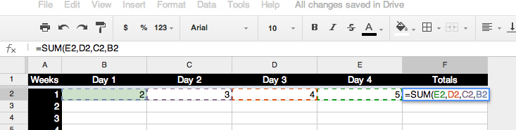 how to add multiple values in google spreadsheets
